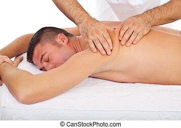 pétrissage, homme, dos, masseur, masage