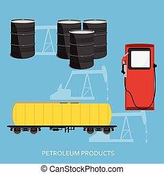 pétrole, vecteur, produits