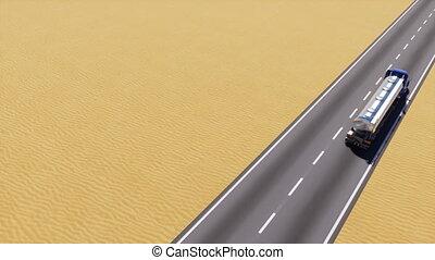 pétrolier, espace, camion essence, copie, désert, route, 3d