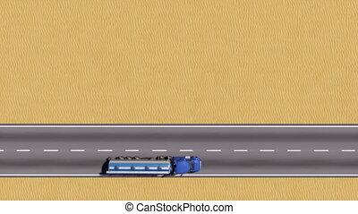 pétrolier, espace, sommet, camion, copie, désert, route, vue