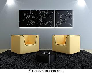 pêche, intérieurs, moderne, -, conception, décorations, sièges, noir