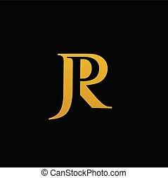 p, lettre, r, police, doré, j, vecteur
