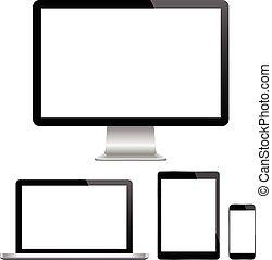 p, moniteur, moderne, informatique, ordinateur portable