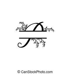 p, plante, initiale, vecteur, monogram, fente, lettre, décoratif