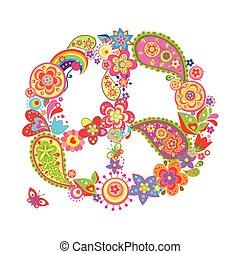 p, symbole, fleur, paix, coloré