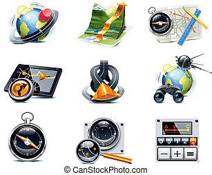 p.1, vecteur, navigation, icons., gps