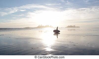 paddleboarder, sunset.