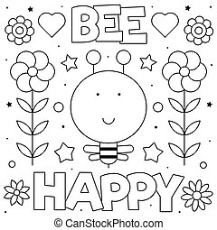 page., coloration, illustration., happy., abeille, abeille, flowers., vecteur