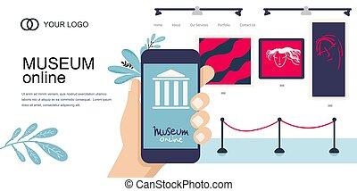 page, musée, interactif, smartphone., atterrissage, art, template., concept., téléphone, virtuel, exhibition., tours., vecteur, ligne, galerie, tours, main, plat