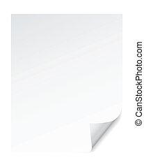 page, papier, boucle, vecteur, coin, effets