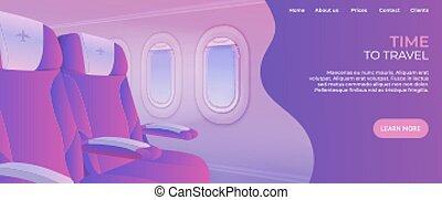 page., toile, voyage, vacances, atterrissage, website., temps, avion, vue, page, destinations