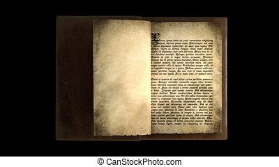 pages, livre, tourner, vieux, magie