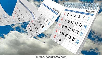 pages, -, rendre, nuages, mars, 2020, ciel, calendrier, fllying, 3d
