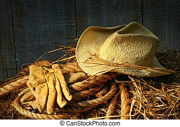 paille, balle foin, gants, chapeau
