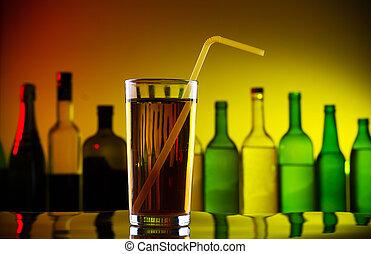 paille, barre, alcool, cocktail