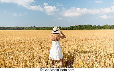 paille, champ, chapeau, girl, portrait, été