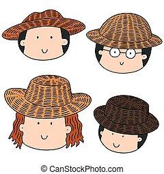 paille, ensemble, chapeau, vecteur, gens