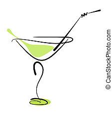 paille, verre, alcool, cocktail