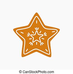 pain épice, noël petit gâteau, étoile, icon.