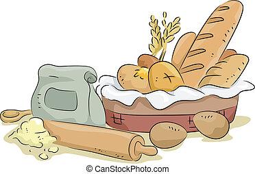 pain, matériels, cuisant four ingrédients