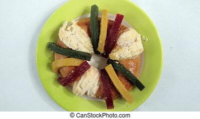pain, mexicain, jour, table, rois, blanc, coloré