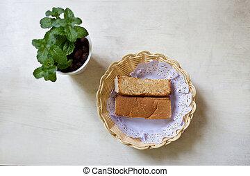 pain, plante, blanc, isolé, composition