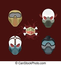 paintball, mask., evi, ensemble