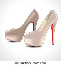 paire, chaussures, à hauts talons
