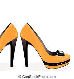 paire, chaussures, jaune