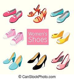 paire, différent, chaussures, collection, femmes