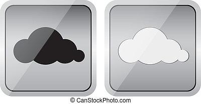 paire, lustré, nuage, icônes