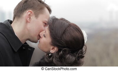 paire, nuptial, kissing.
