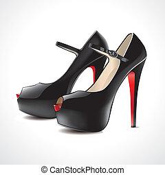 paire, ope, noir, chaussures, à hauts talons