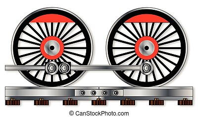 paire, roues, train