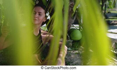 paisible, femme, thaïlande, apprécier, exotique, bord mer