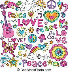 paix, amour, groovy, musique, doodles