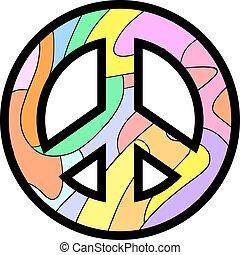 paix, coloré, icône