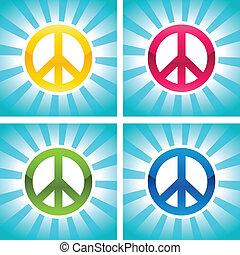 paix, coloré, signes