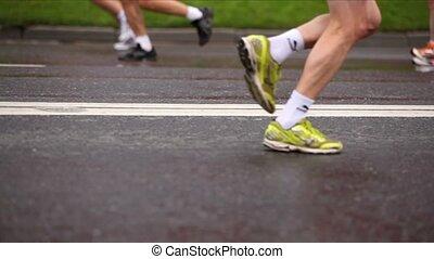 paix, course, asphalte, gens, moscou, xxx, lot, mouillé, international, jambes, marathon