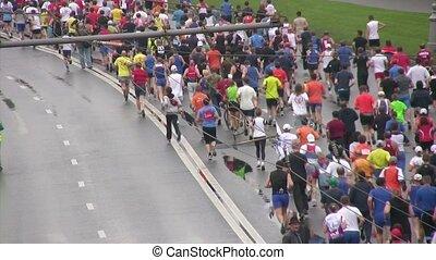 paix, course, marathon., moscou, xxx, participants, international, marathon