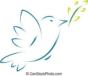 paix, fleur, colombe
