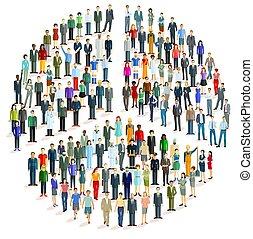 paix, groupe, formulaire, gens, grand, -, symbole, vecteur, illustration.eps
