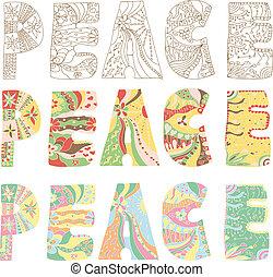 paix, lettres, coloré