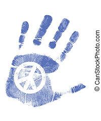 paix, /, main, vecteur, impression, signe