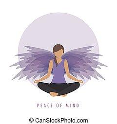 paix, pose, esprit, ailes, girl, méditation