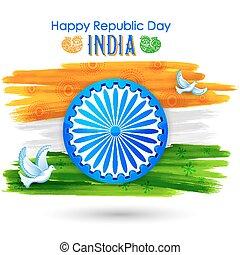 paix, projection, voler, drapeau tricolore, indien, colombe