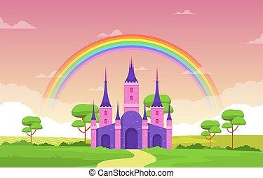 palais, illustration, fée, arc-en-ciel, contes, paysage, royaume fées, château