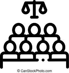palais justice, jugement, vecteur, illustration, séance, icône