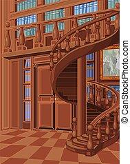 palais, princesse, bibliothèque