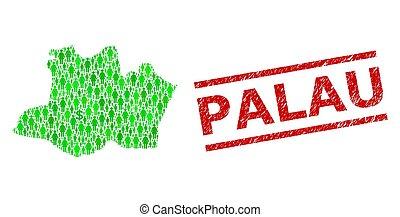 palaos, mosaïque, impression, textured, vert, hommes, état, dollar, timbre, amazonas, carte